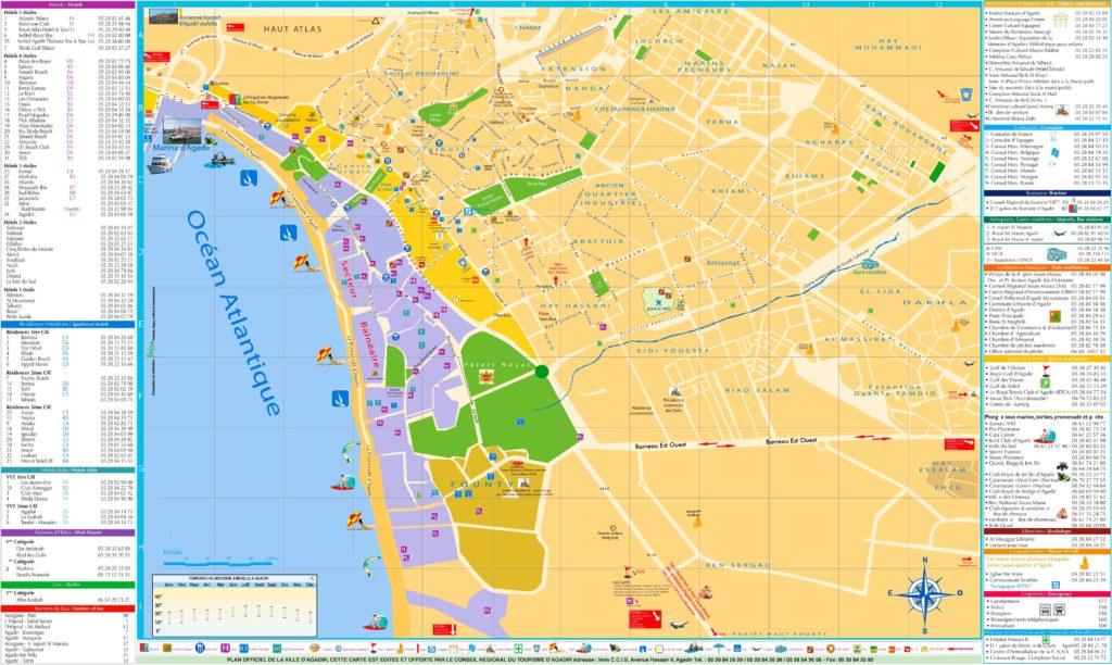 Carte des quartiers et de leurs pharmacies de garde sur Agadir