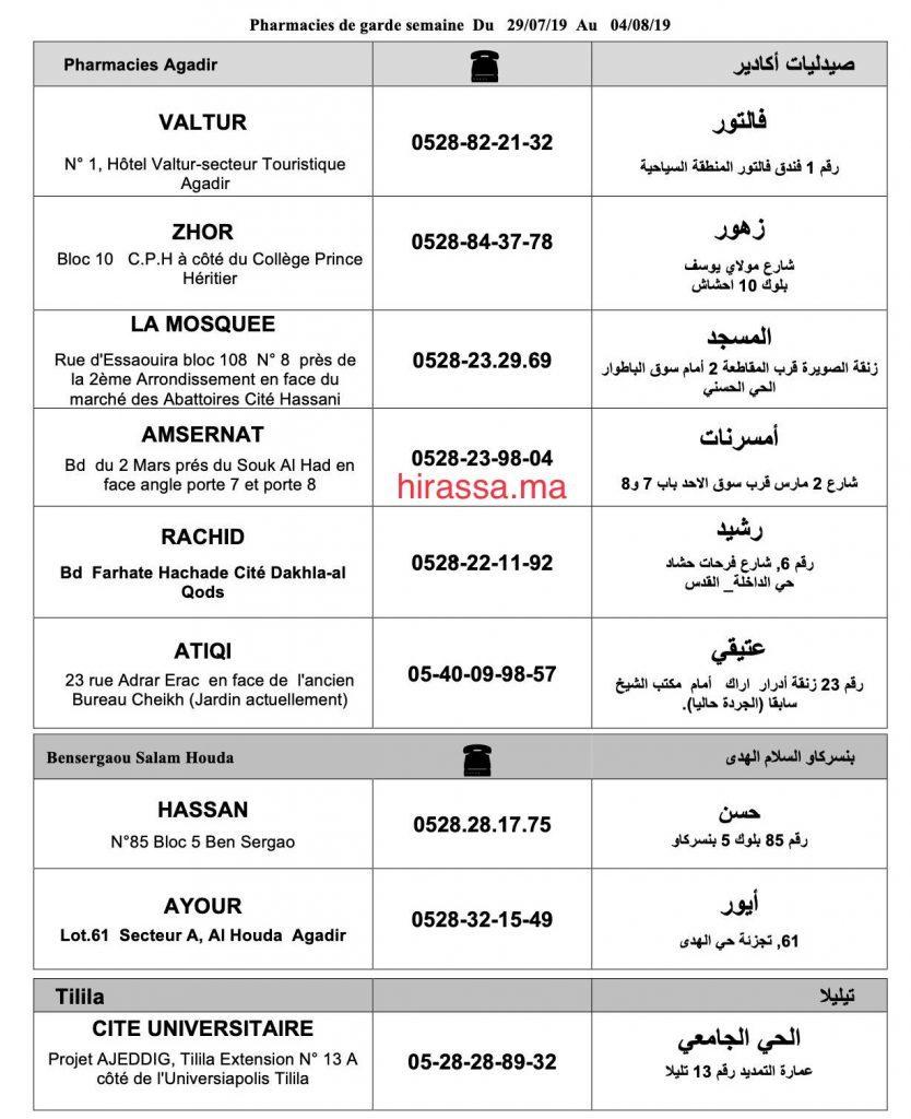 liste des pharmacies de garde Agadir du 29 juillet au 5 août 2019