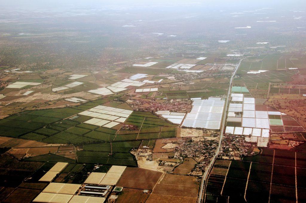 Vue aérienne depuis un vol vers Agadir au Maroc