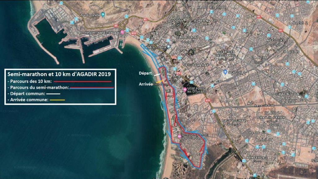 Parcours qu'emprunteront les coureurs du semi-marathon d'Agadir