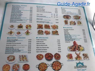 Carte des menus que propose le restaurant Le Petit Pêcheur d'Immi Ouaddar aux alentours d'Agadir